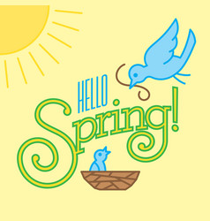 Hello spring design with cute bird drawings vector