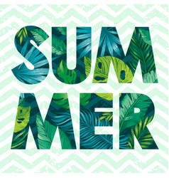 Hello summer card poster with text tropic leaf vector