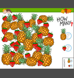 How many fruits educational game vector