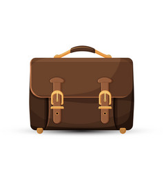 Icon of brown leather briefcase isolated on white vector