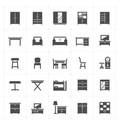 icon set - furniture filled icon style vector image