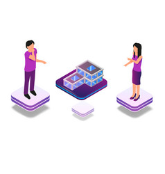 isometric augmented virtual reality for architect vector image