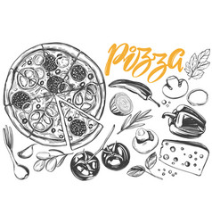 Italian pizza collection of pizza with vector