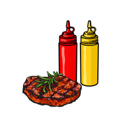 Ketchup mustard and grilled roasted steak vector