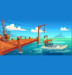 lake with wooden pier and fisherman in boat vector image