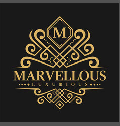 letter m logo - classic luxurious style logo vector image