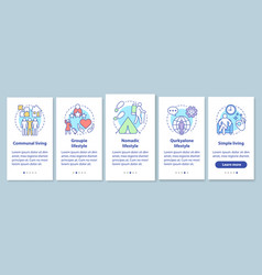 Lifestyle types onboarding mobile app page screen vector