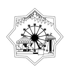 Line mechanical ride carnival games inside star vector