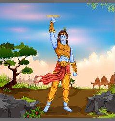 Lord krishana holding sudarshan chakra in happy vector