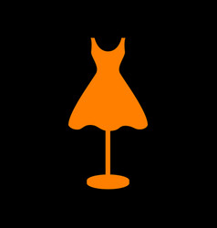 mannequin with dress sign orange icon on black vector image