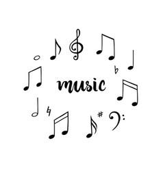 music notes set hand drawn melody vector image