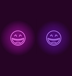 neon of laughing emoji icon vector image