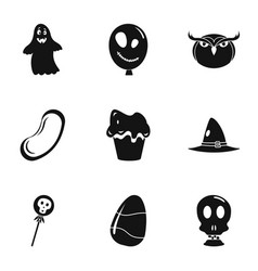 october halloween icon set simple style vector image