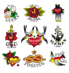old tattooing school emblems vector image