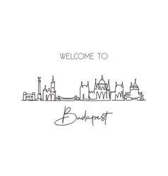 One continuous line drawing budapest city vector