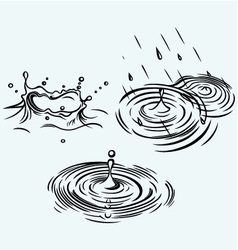Rain drops in the water vector