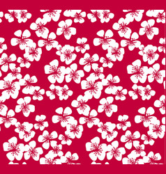 Red pattern with white sakura flower vector