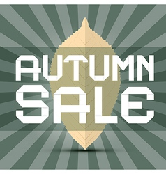 Retro Autumn Sale Title with Leaf on Green vector
