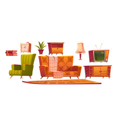retro old living room furniture and stuff set vector image