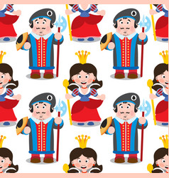 Seamless pattern with cartoon queen and prince vector