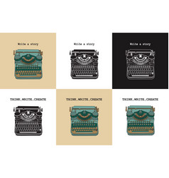 Set of 6 vintage cards with typewriters vector
