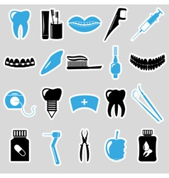 Set of dental theme blue stickers eps10 vector