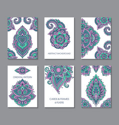 Set of six cards or flyers with abstract henna vector