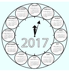 Simple Calendar 2017 circles clock time year vector