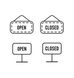 simple outline black signs open and closed vector image