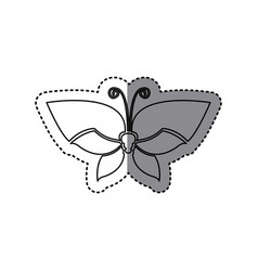 Sticker shading silhouette simple butterfly insect vector
