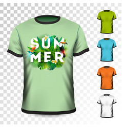 Summer holiday t-shirt design with tropical leaves vector