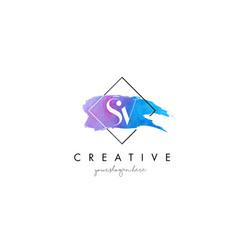 Sv artistic watercolor letter brush logo vector