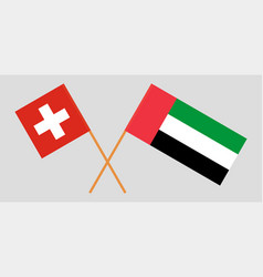 Switzerland and united arab emirates flags vector