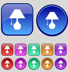 table lamp icon sign A set of twelve vintage vector image