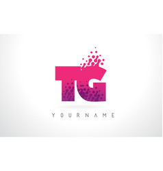 Tg t g letter logo with pink purple color and vector