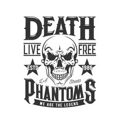 Tshirt print with skull for apparel design vector
