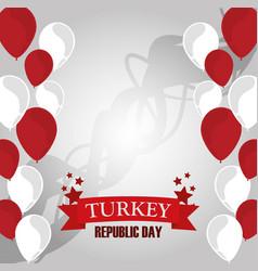 Turkey republic day balloons decoration vector