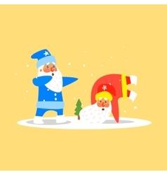 Two Dancing Santas Christmas vector image