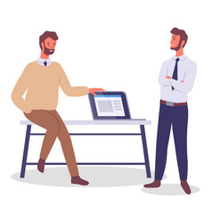 two young office employees in office vector image