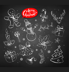 vintage set chalked christmas objects vector image