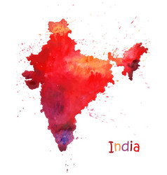 Watercolor map india stylized image with spots vector