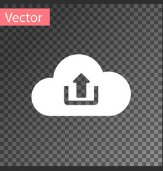 white cloud upload icon isolated on transparent vector image
