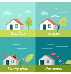 Wind Strength Levels Windless Breeze Hurricane vector