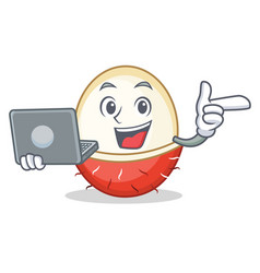 with laptop rambutan character cartoon style vector image