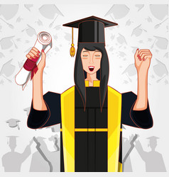 woman graduted with nuform character vector image