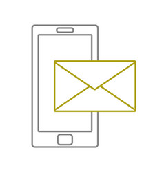 yellow line smartphone technology with text letter vector image