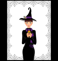 young cute witch in long black dress scarf and vector image