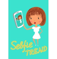 Girl is taking selfie Handdrawn vector image vector image
