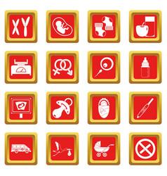 Pregnancy symbols icons set red vector
