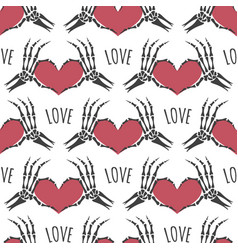skeleton hands heart seamless pattern vector image